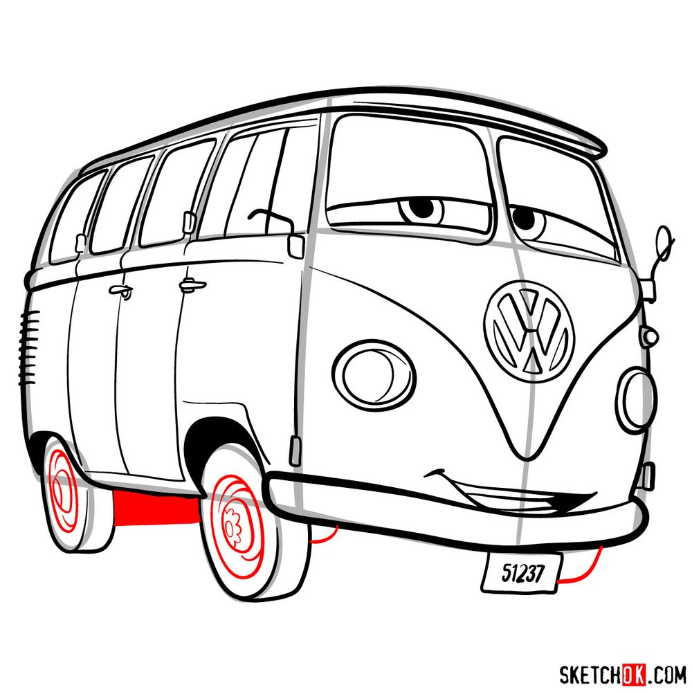 How to draw Fillmore from Pixar Cars - step 15