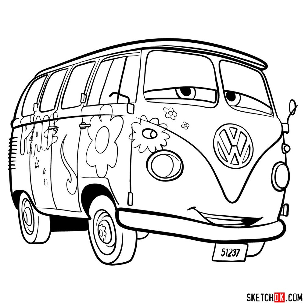 How to draw Fillmore from Pixar Cars
