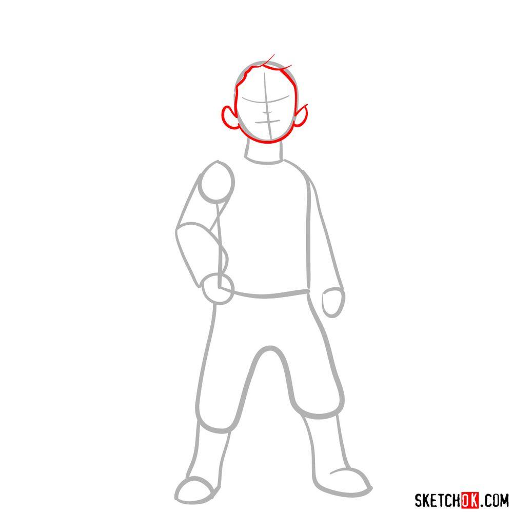 How to draw Ezran - step 03