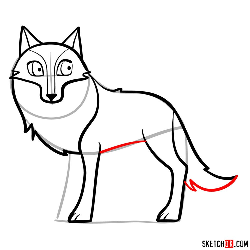 How to draw Mebh as a wolf - step 10