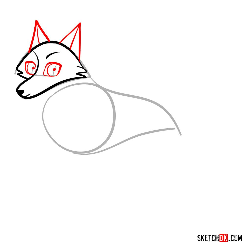 How to draw Robyn as a wolf - step 04