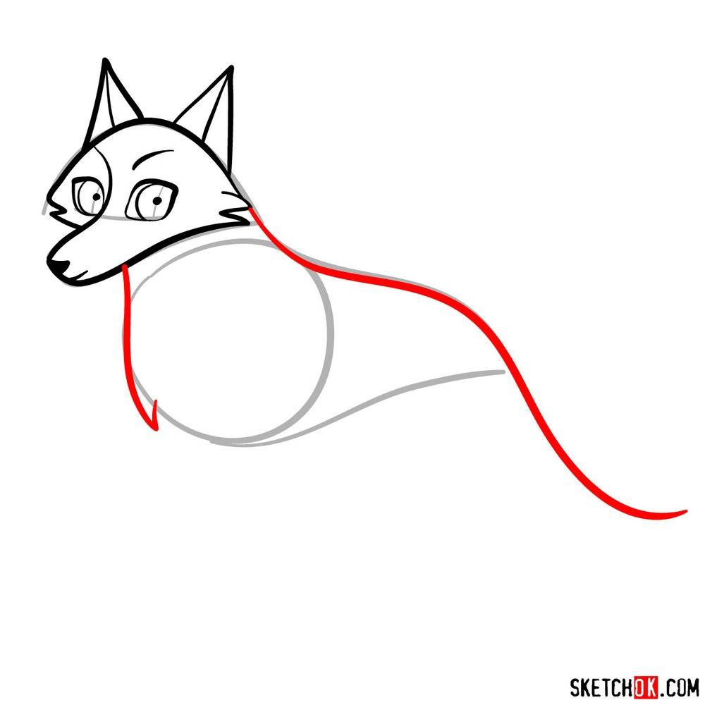How to draw Robyn as a wolf - step 05