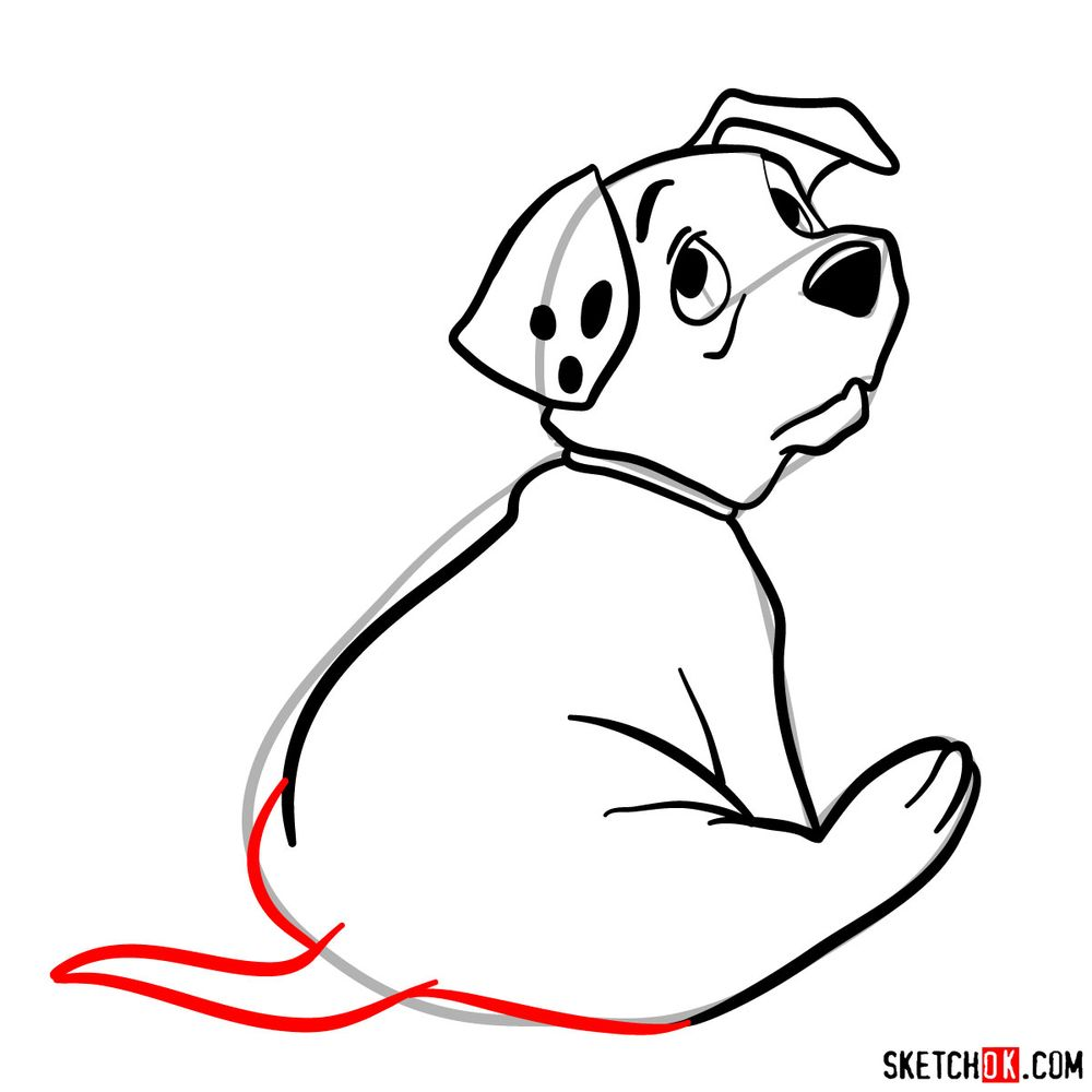 How to draw Rolly from 101 Dalmatians - step 09