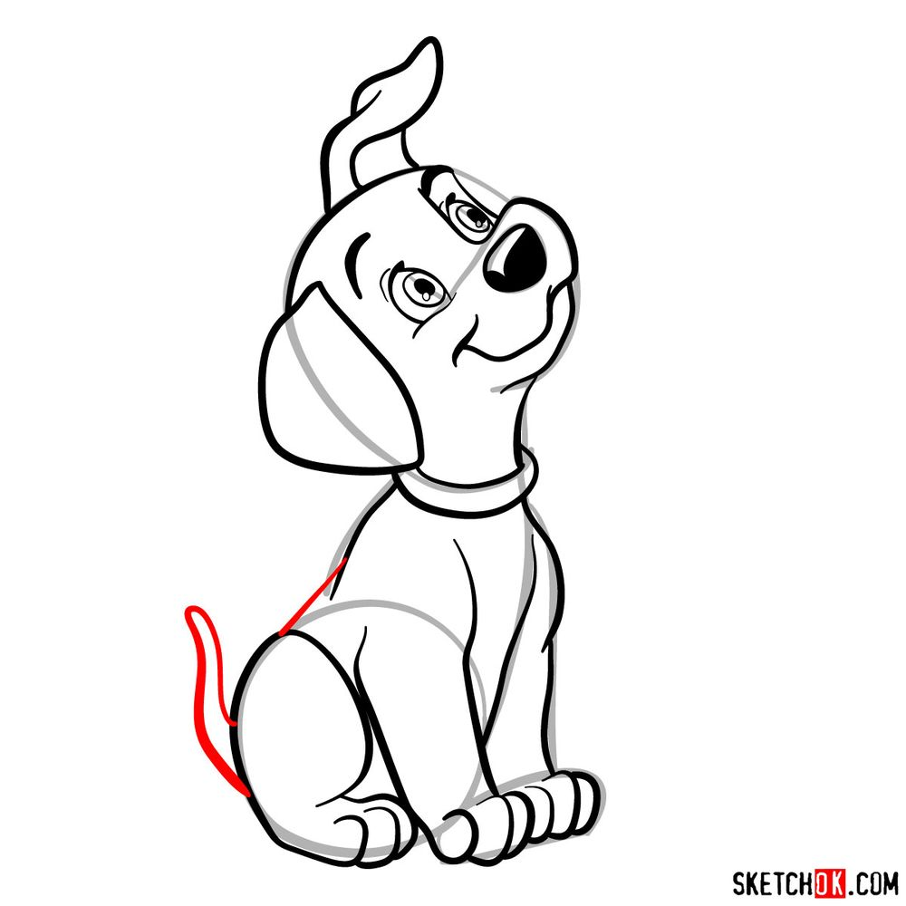 How to draw Lucky from 101 Dalmatians - step 12