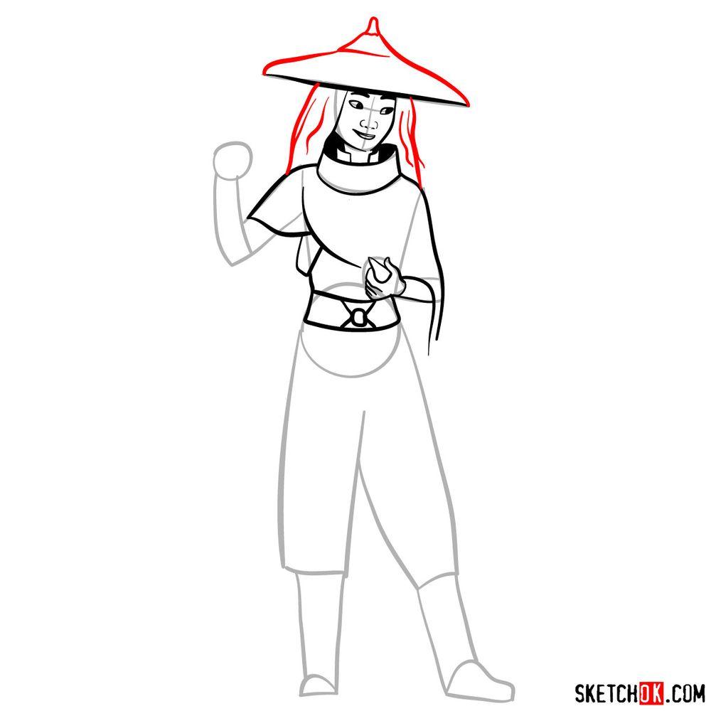 How to draw Raya step by step - step 09