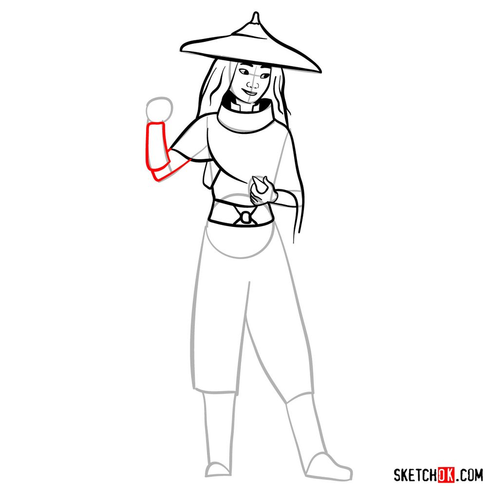 How to draw Raya step by step - step 10