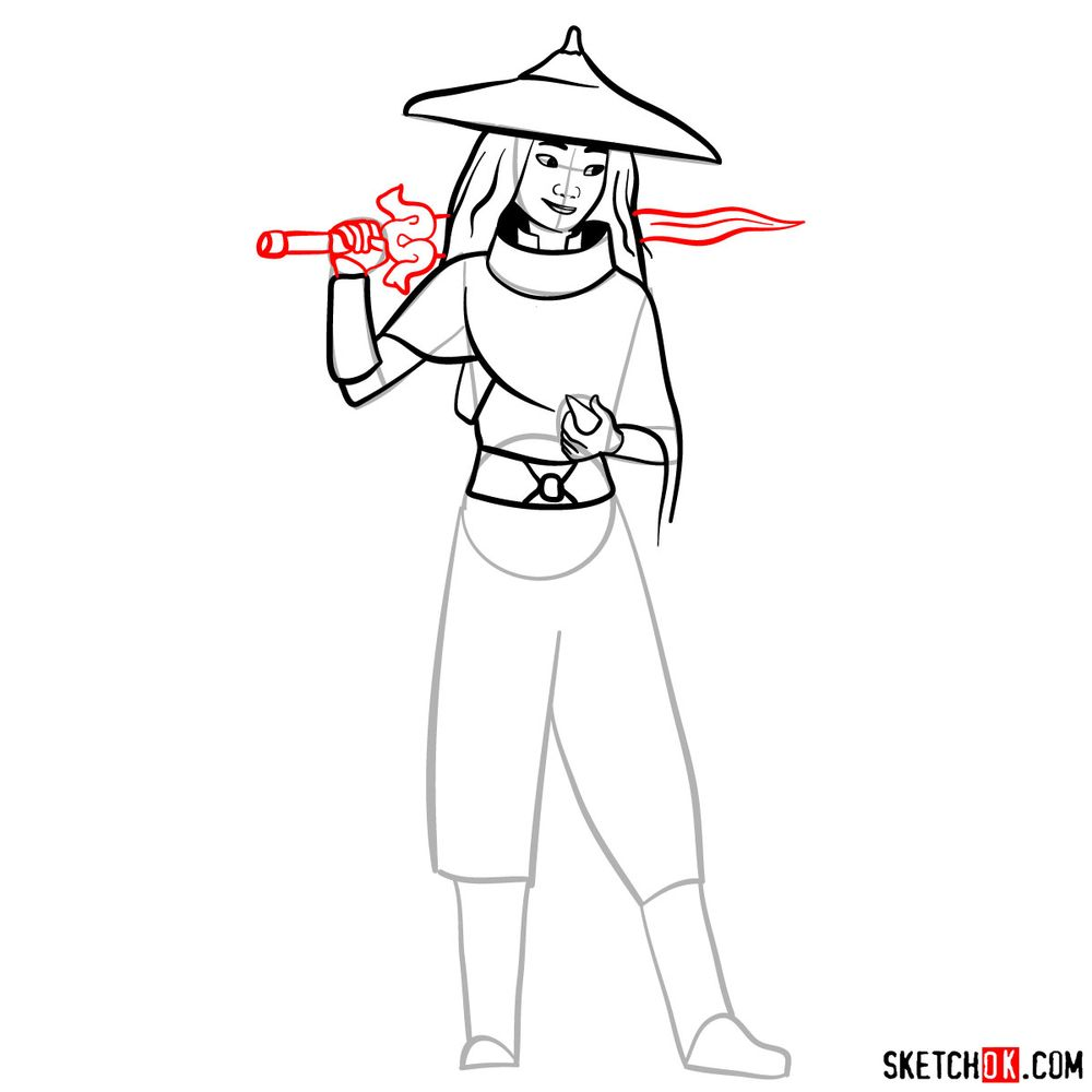 How to draw Raya step by step - step 11