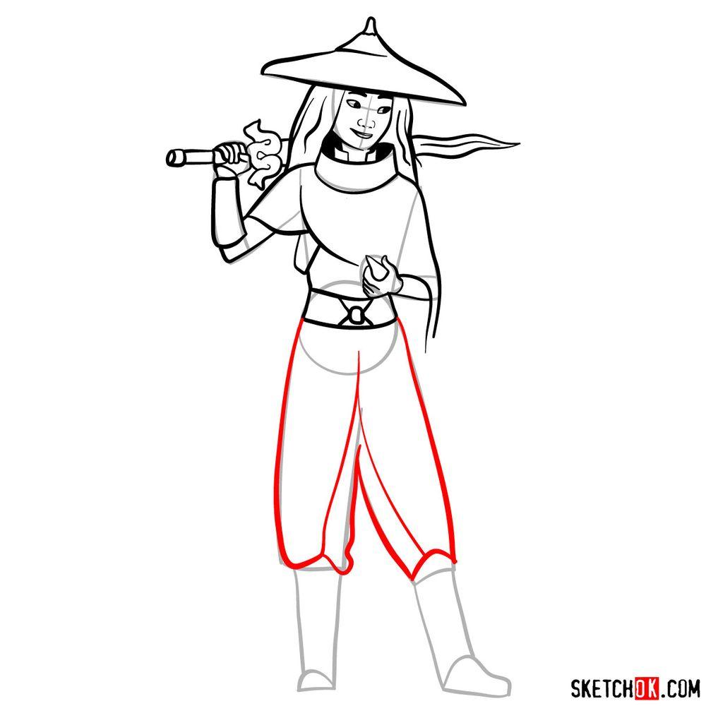How to draw Raya step by step - step 12
