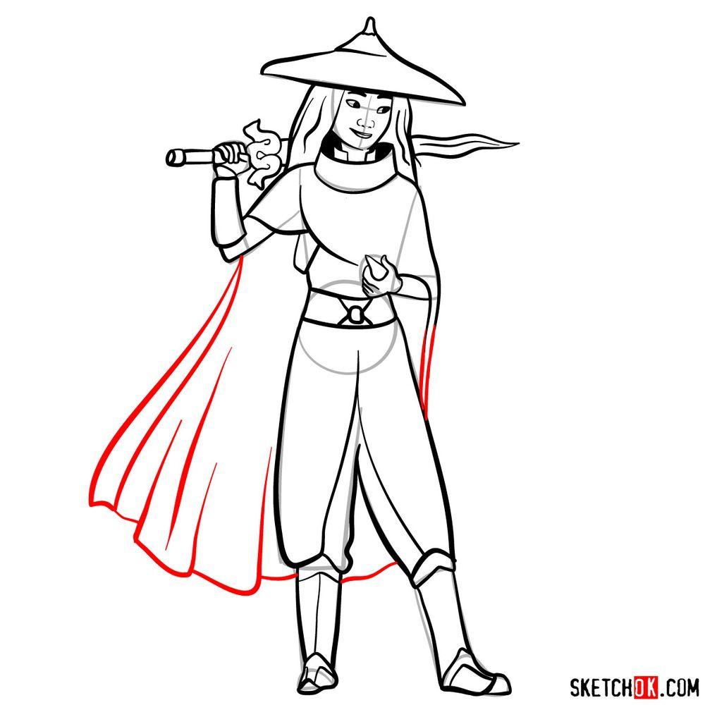 How to draw Raya step by step - step 14