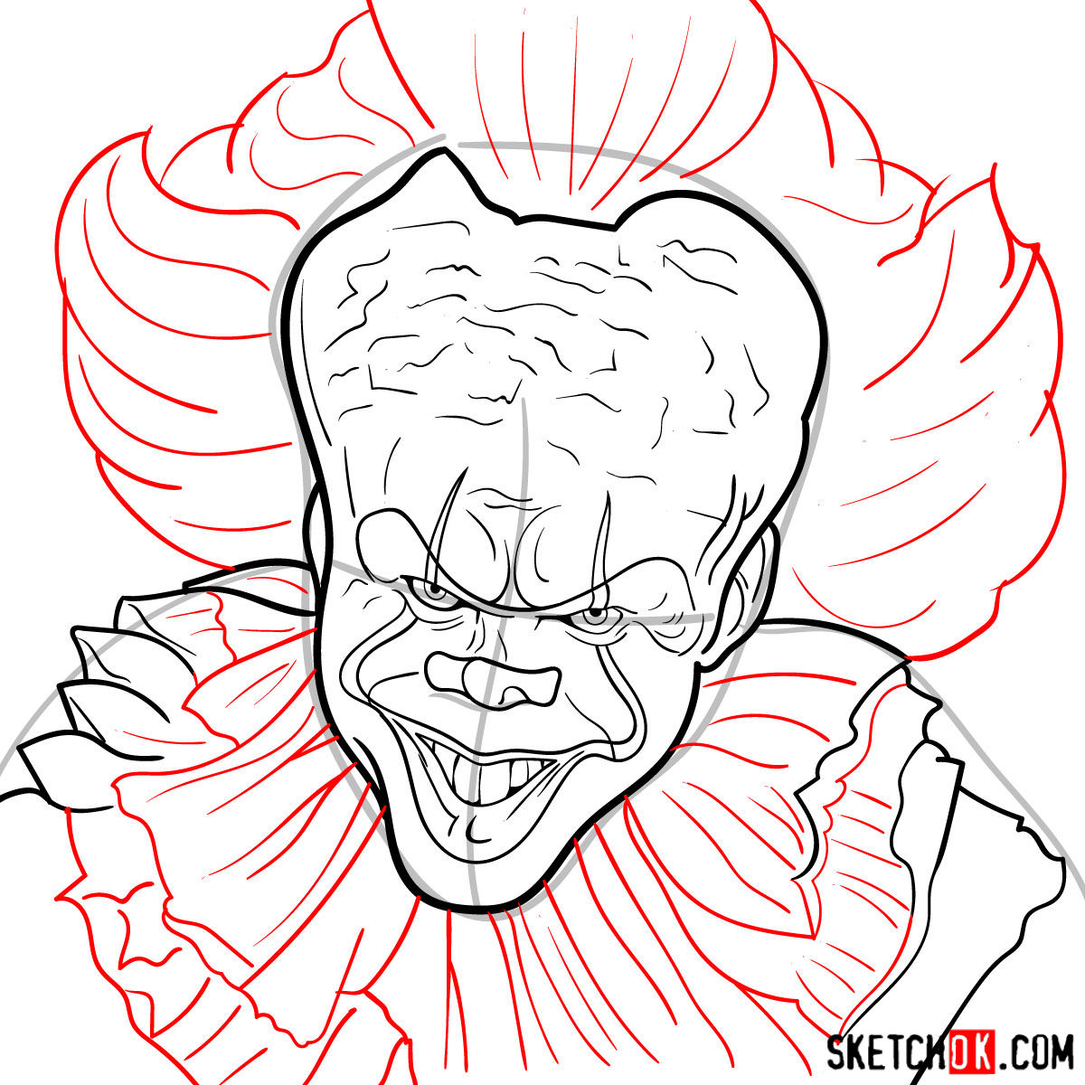 How to draw Pennywise the Dancing Clown step by step - step 10