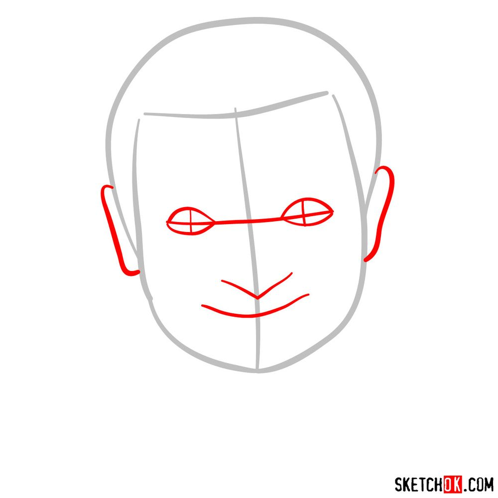 How to draw Mr. Bean - step 02