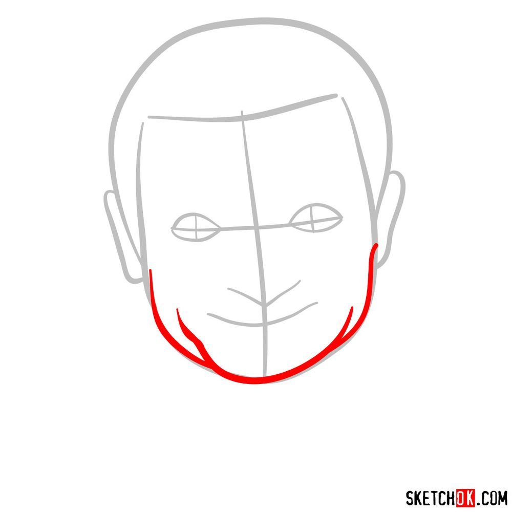 How to draw Mr. Bean - step 03
