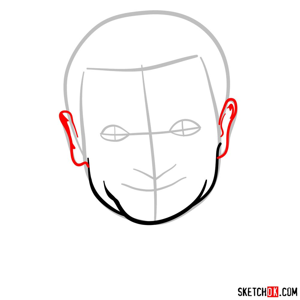 How to draw Mr. Bean - step 04