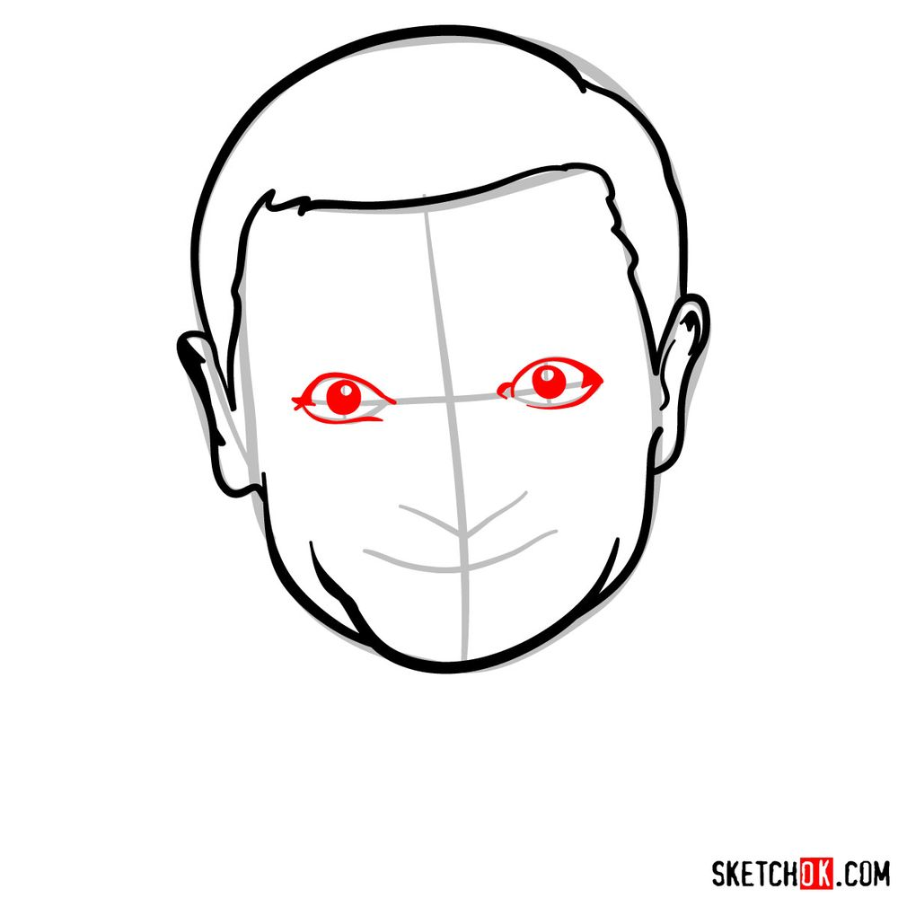 How to draw Mr. Bean - step 07
