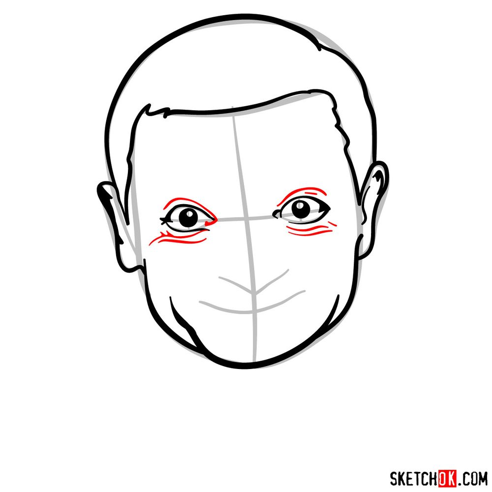 How to draw Mr. Bean - step 08