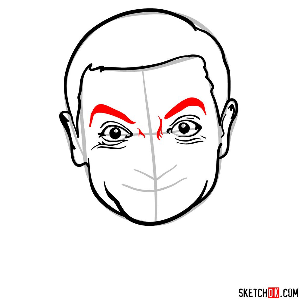 How to draw Mr. Bean - step 09
