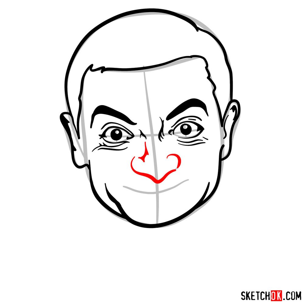 How to draw Mr. Bean - step 10