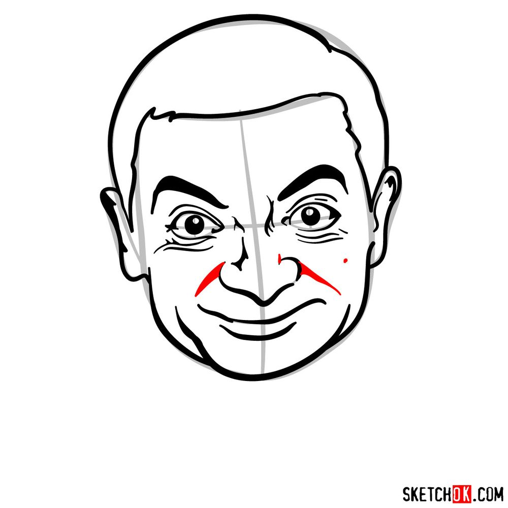 How to draw Mr. Bean - step 12