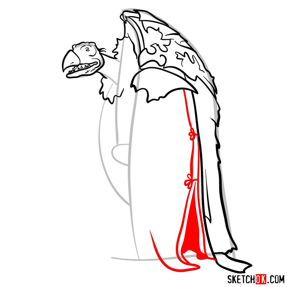 How to draw a Skeksis - step 10