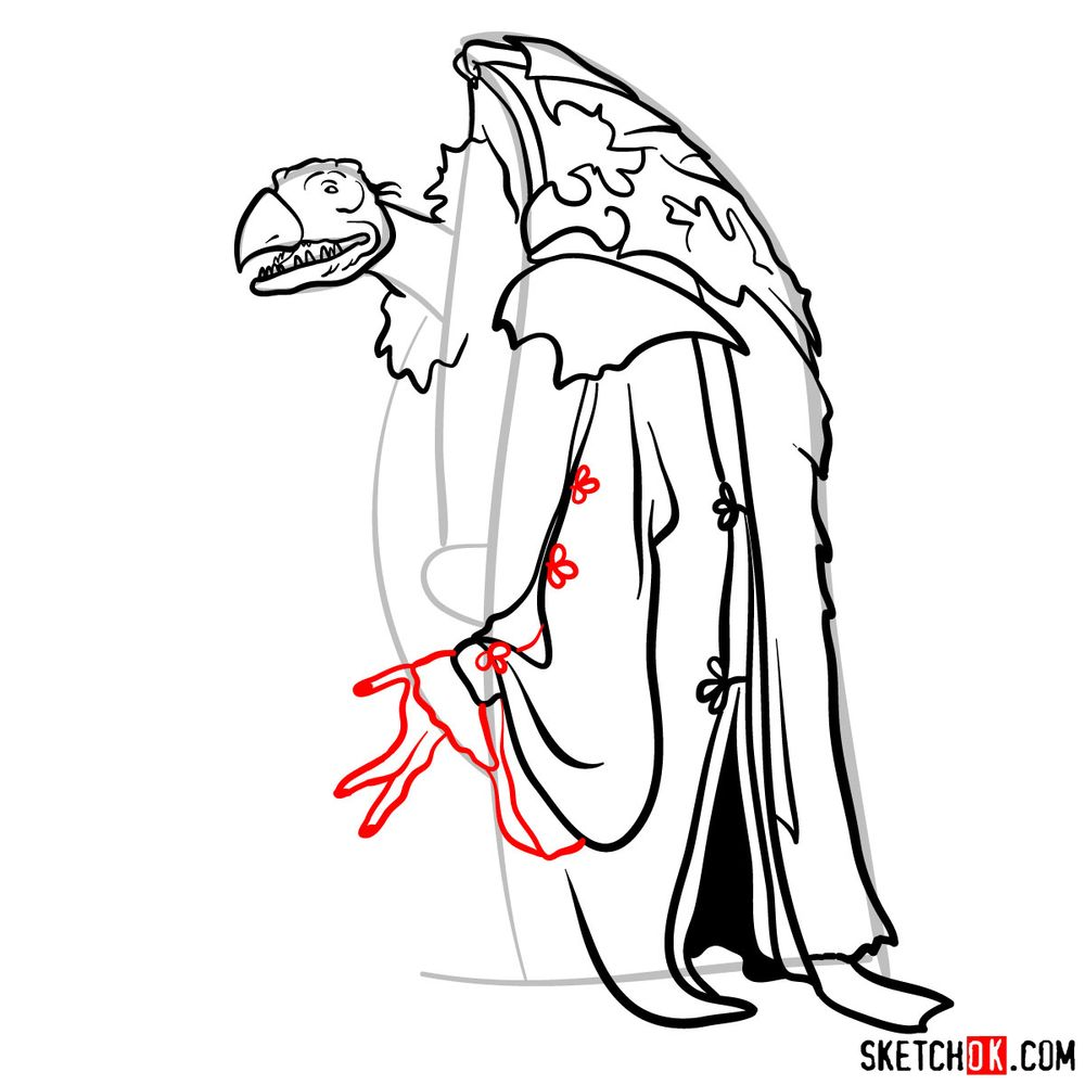 How to draw a Skeksis - step 12