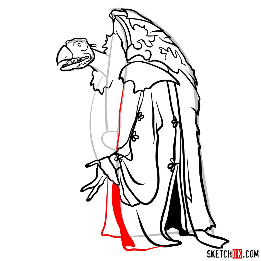 How to draw a Skeksis - step 13