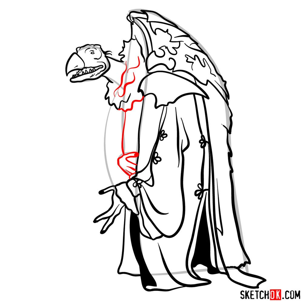 How to draw a Skeksis - step 14