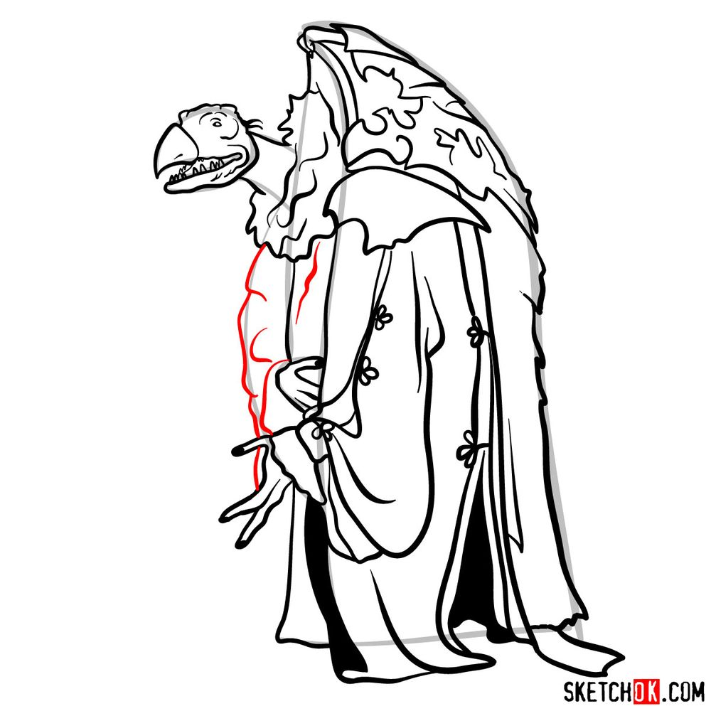 How to draw a Skeksis - step 15