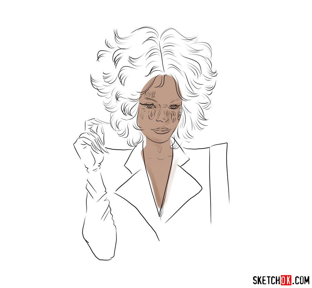 How to draw Cruella de Vil (Emma Stone) - step 03