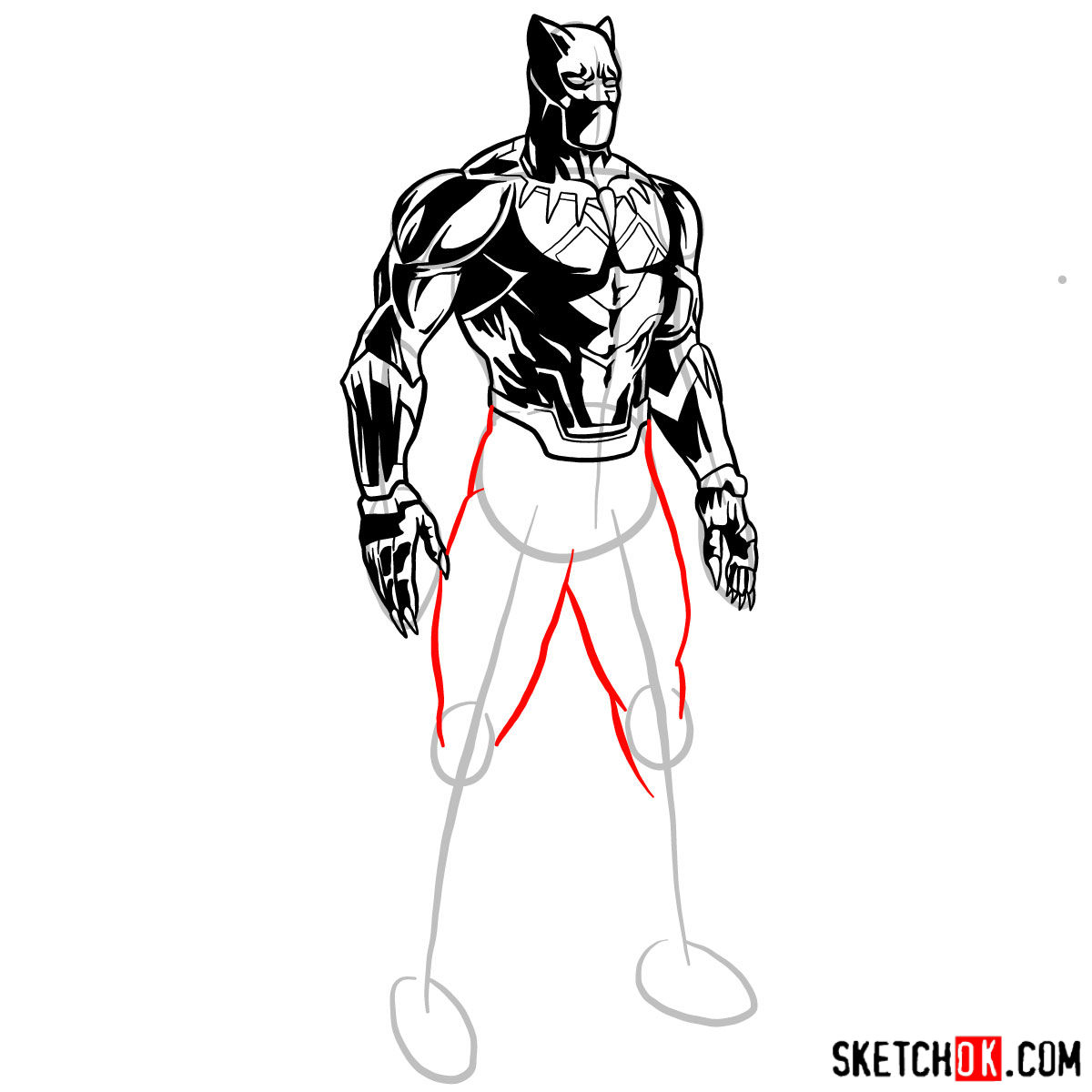 How to draw Black Panther from Marvel - step 13