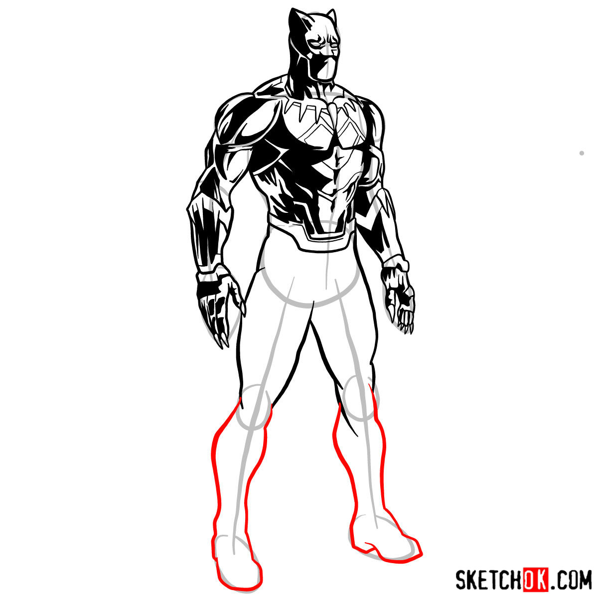 How to draw Black Panther from Marvel - step 14