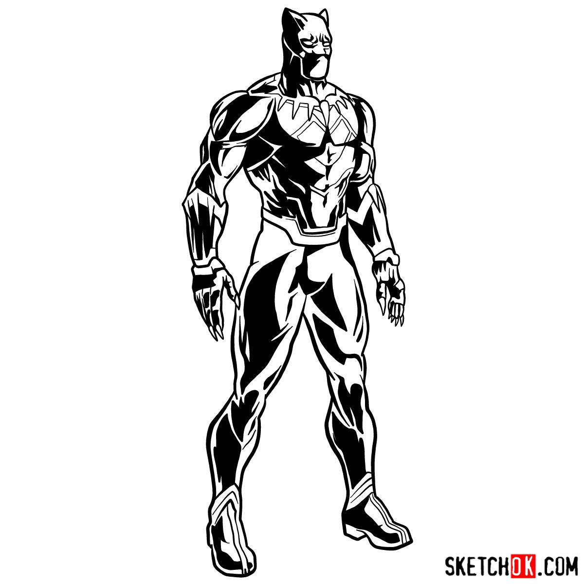 How to draw Black Panther from Marvel - step 17