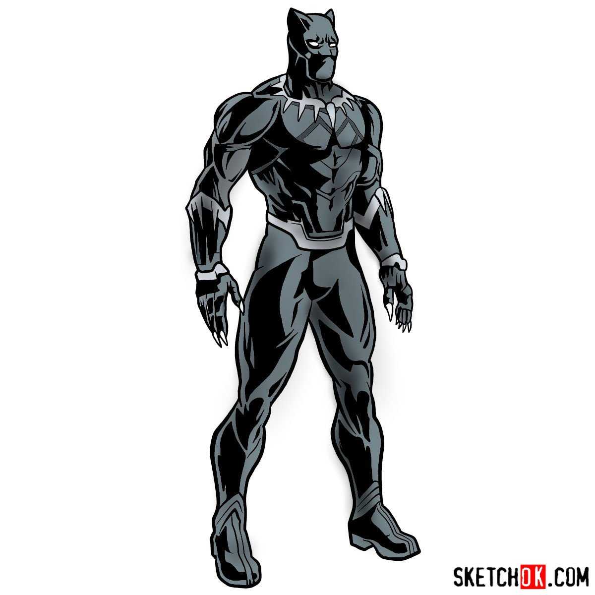 How to draw Black Panther from Infinity War 2018 film