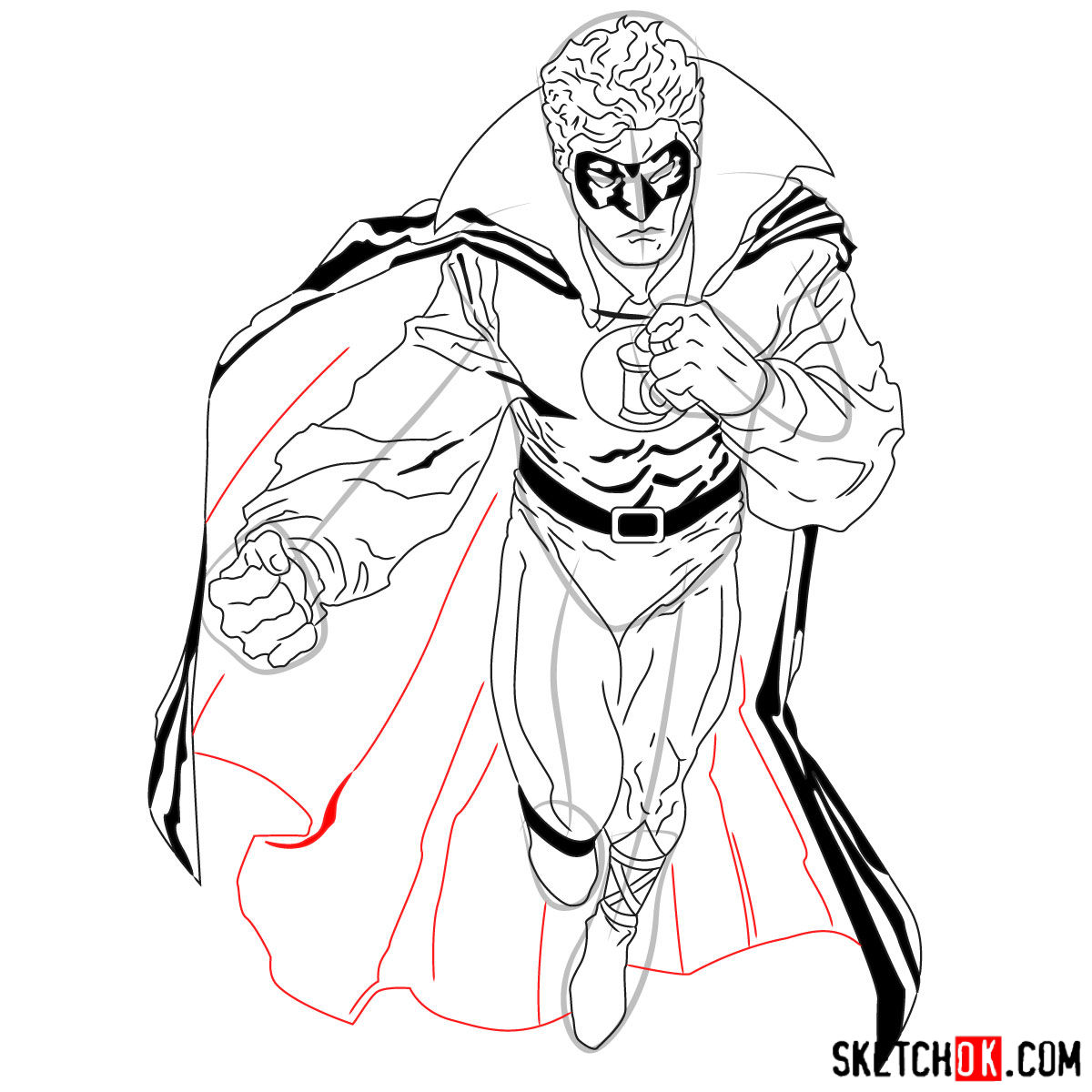 How to draw Alan Scott the first Green Lantern - step 18