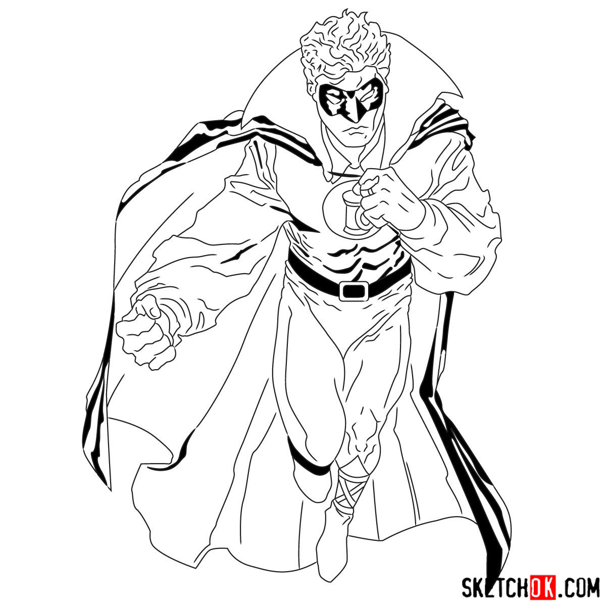 How to draw Alan Scott the first Green Lantern - step 19