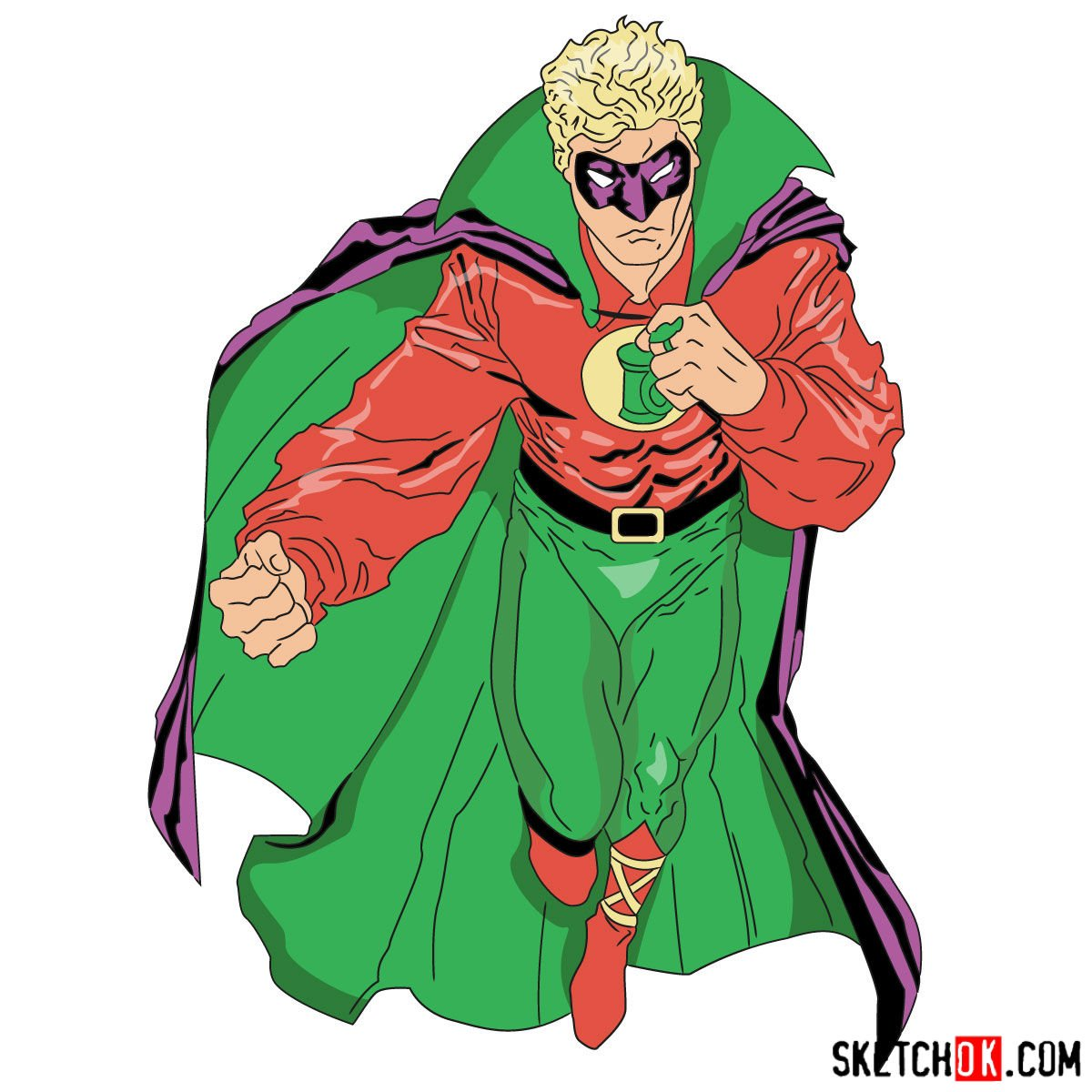 How to draw Alan Scott the first Green Lantern