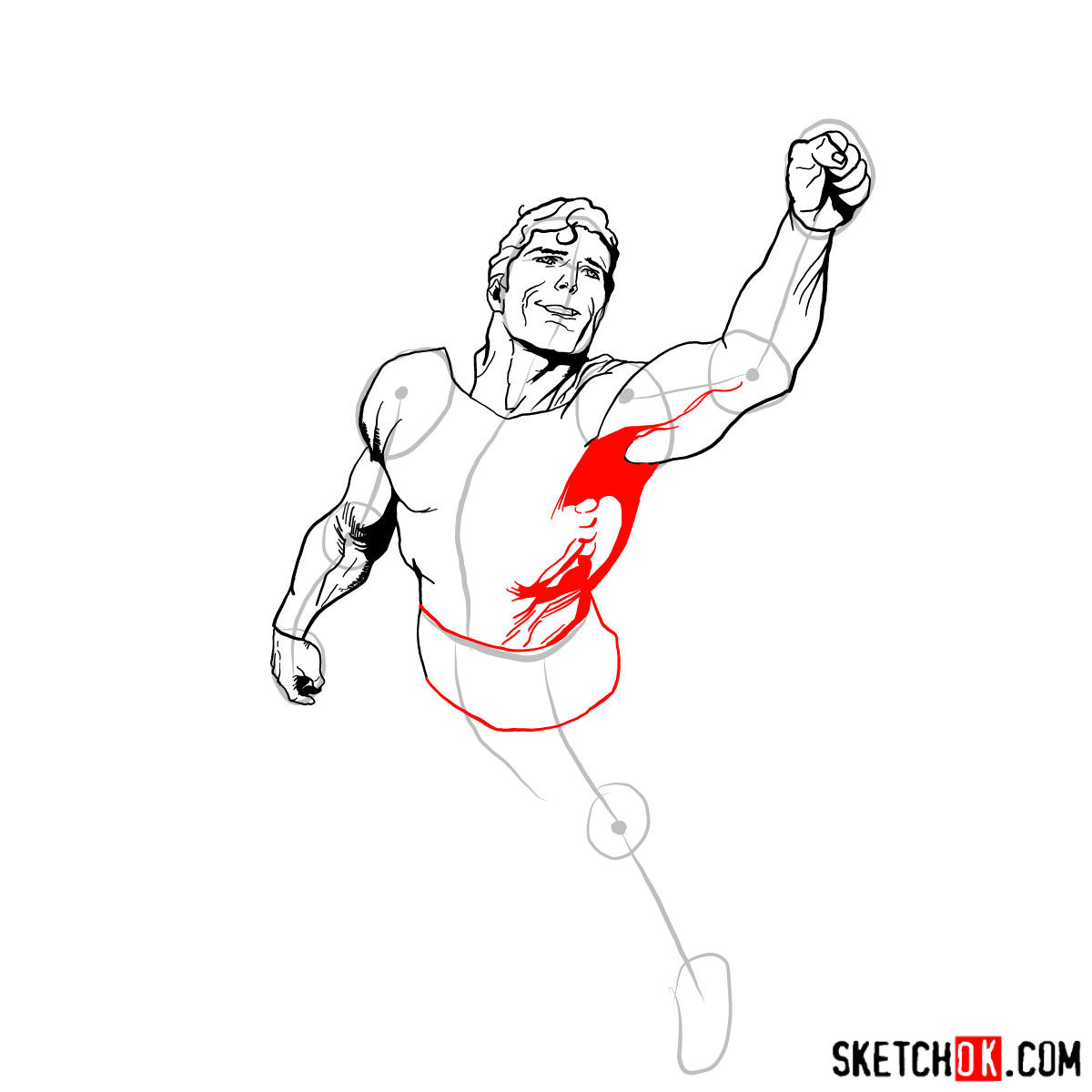 How to draw flying Superman - step 09