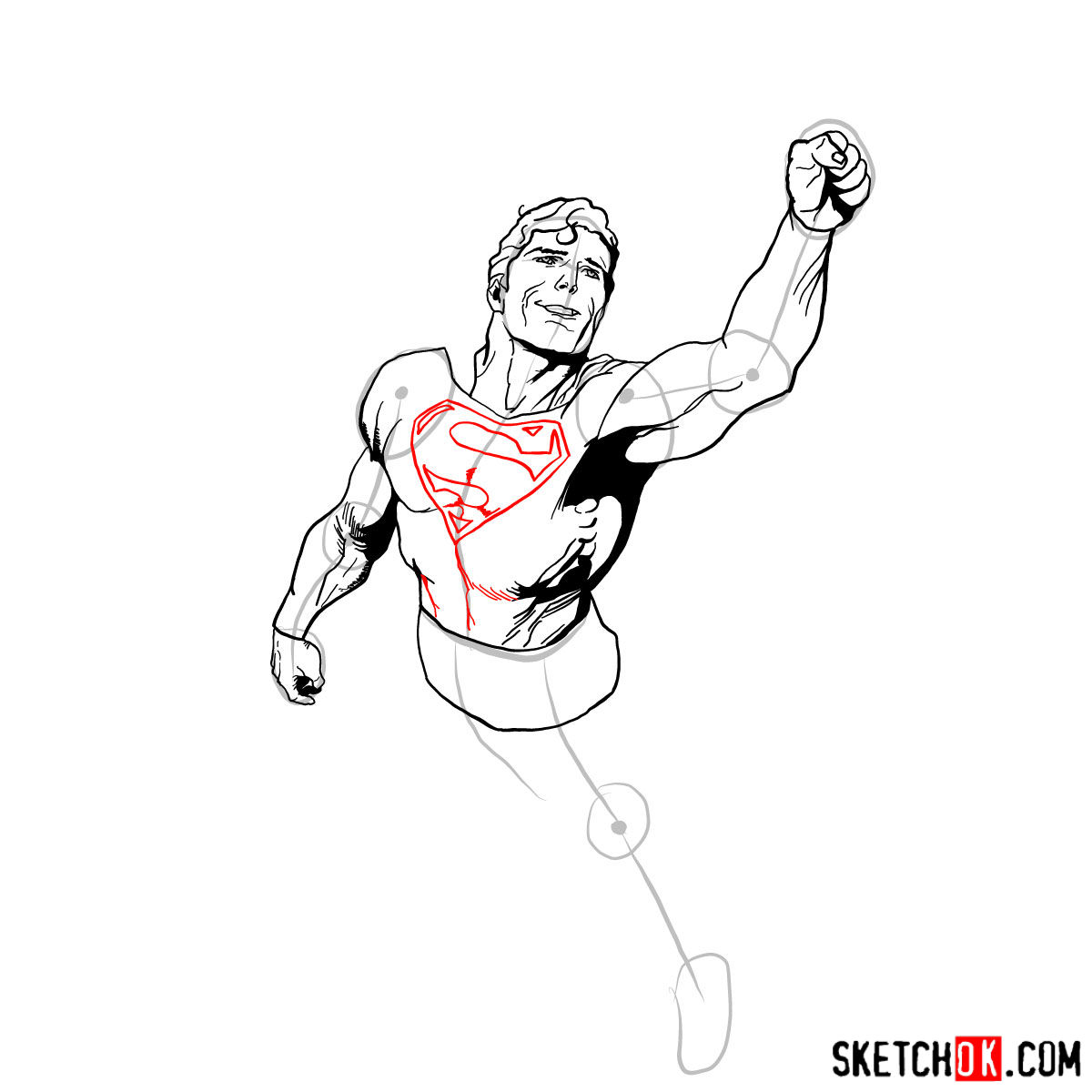 How to draw flying Superman - step 10