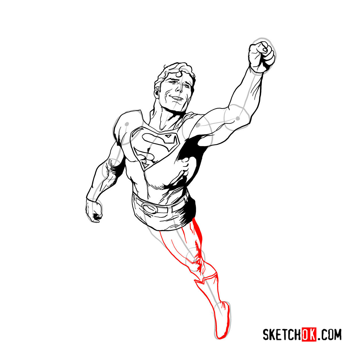 How to draw flying Superman - step 12