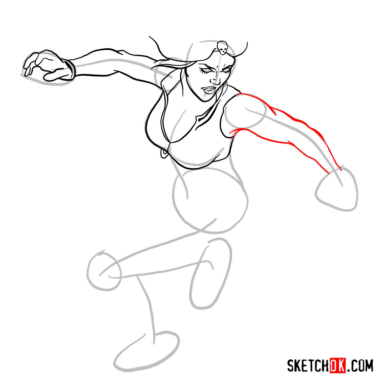 How to draw Mystique (Raven Darkhölme) from Marvel X-Men comics - step 08