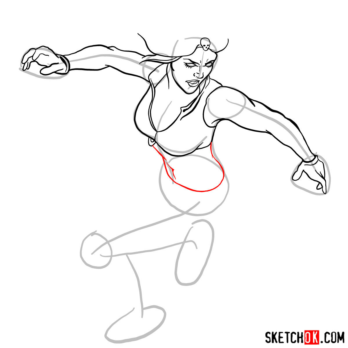 How to draw Mystique (Raven Darkhölme) from Marvel X-Men comics - step 10