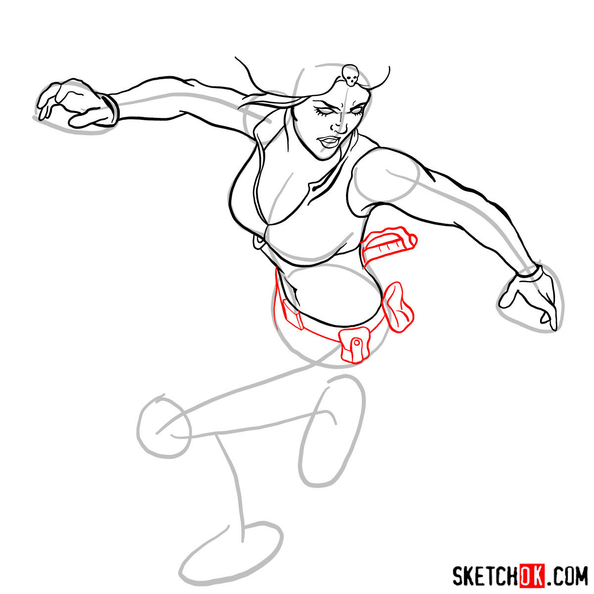 How to draw Mystique (Raven Darkhölme) from Marvel X-Men comics - step 11