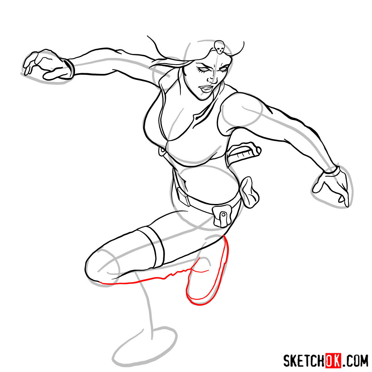 How to draw Mystique (Raven Darkhölme) from Marvel X-Men comics - step 13