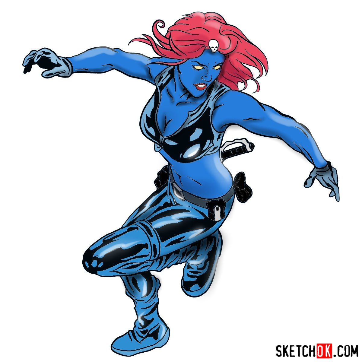 How to draw Mystique (Raven Darkhölme) from Marvel X-Men comics - coloring