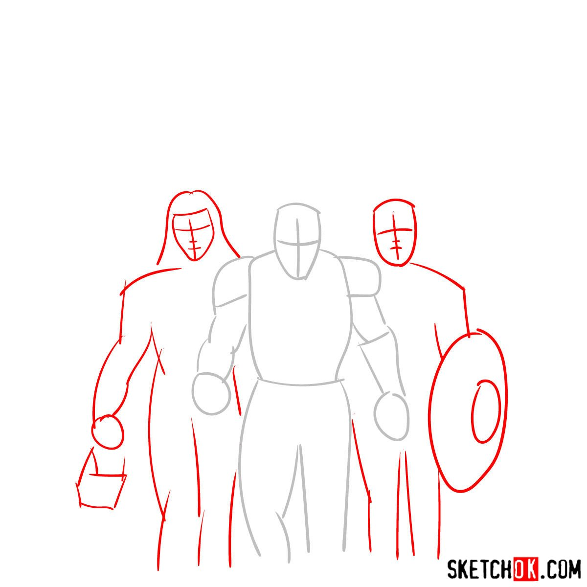 How to draw the Avengers Team - step 02