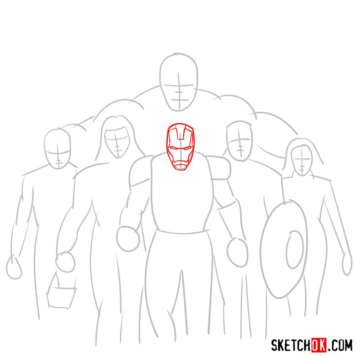How to draw the Avengers Team - step 05