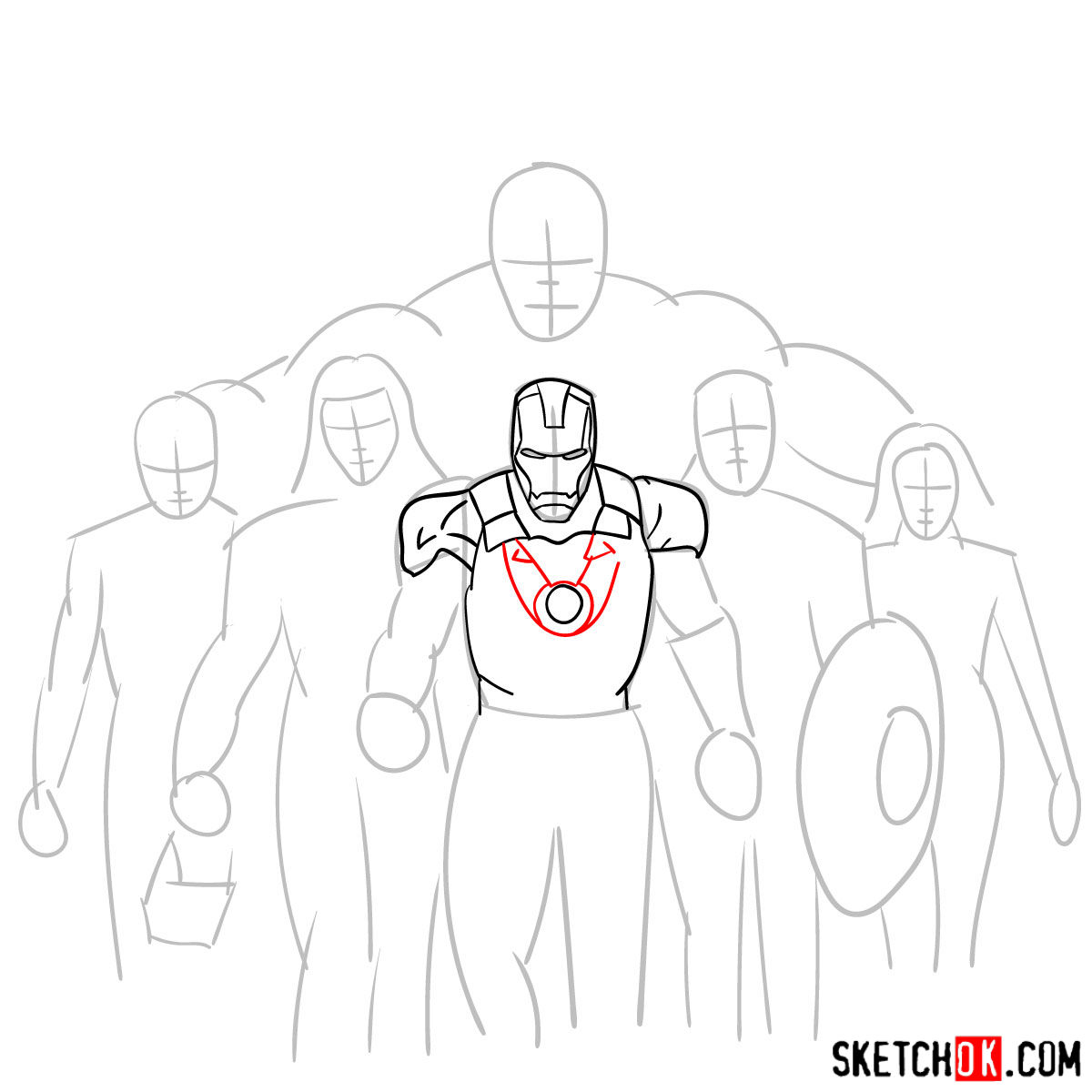 How to draw the Avengers Team - step 08