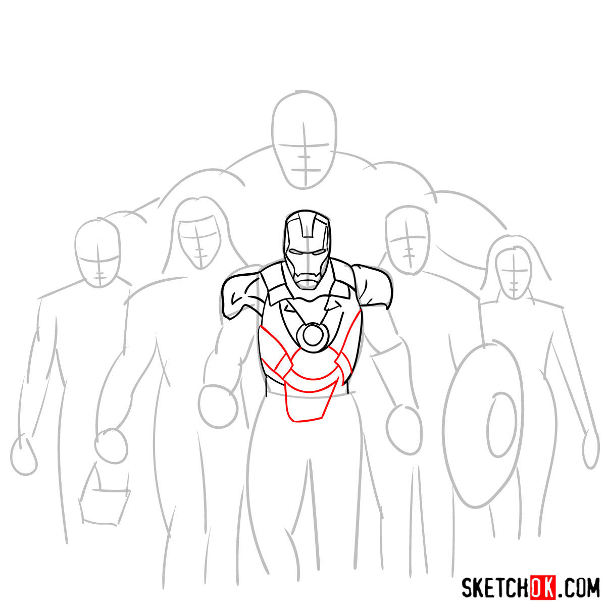 How to draw the Avengers Team - step 09