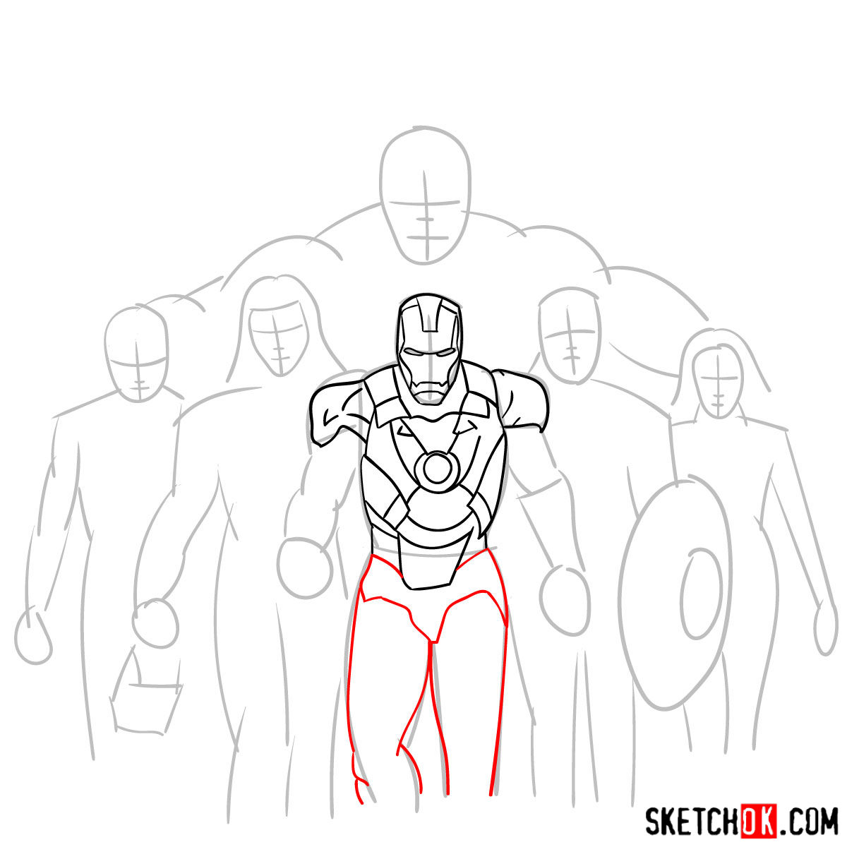 How to draw the Avengers Team - step 10