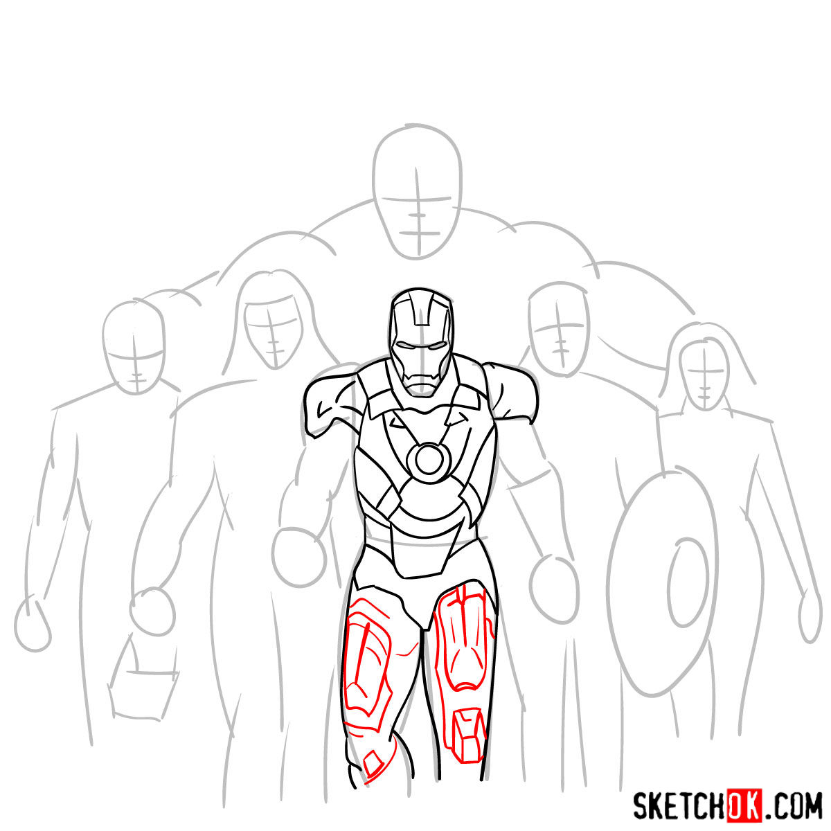 How to draw the Avengers Team - step 11