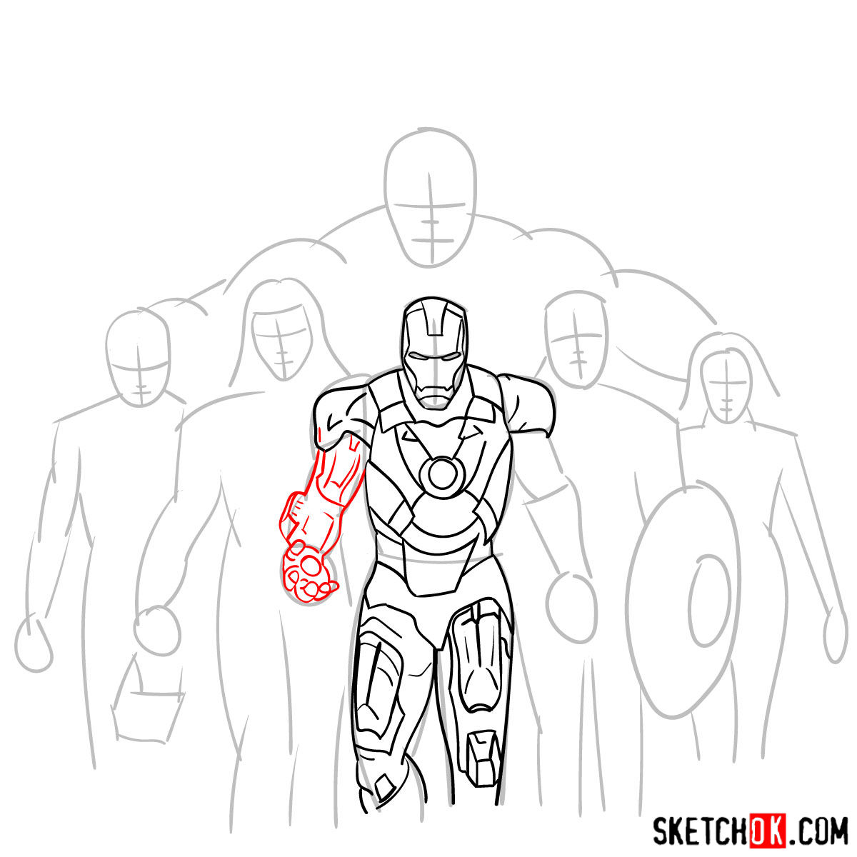 How to draw the Avengers Team - step 12